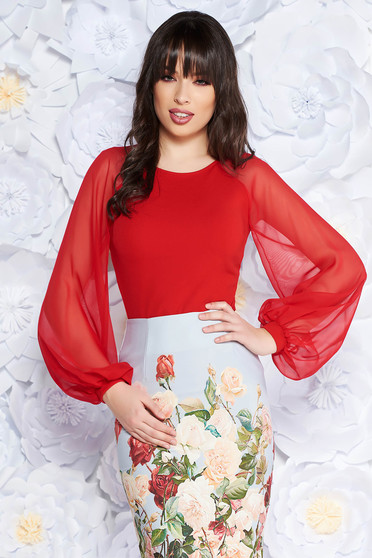 StarShinerS red women`s blouse elegant slightly elastic fabric with veil sleeves with tented cut