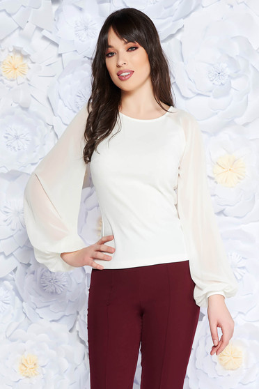 StarShinerS white women`s blouse elegant slightly elastic fabric with veil sleeves with tented cut