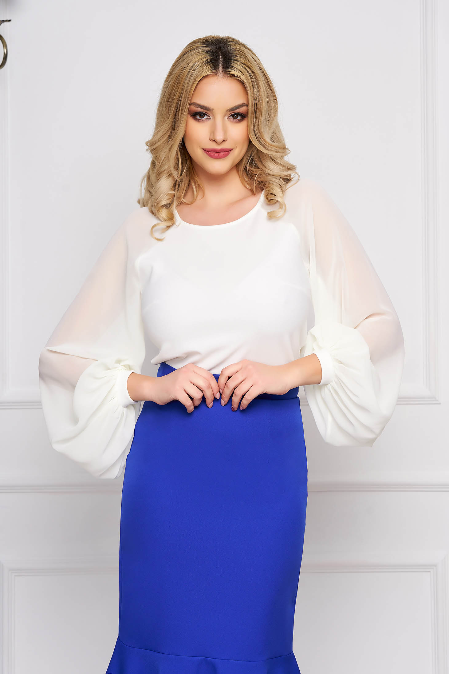 StarShinerS white elegant women`s blouse slightly elastic fabric with veil sleeves with tented cut