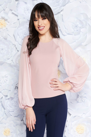 StarShinerS pink women`s blouse elegant slightly elastic fabric with veil sleeves with tented cut