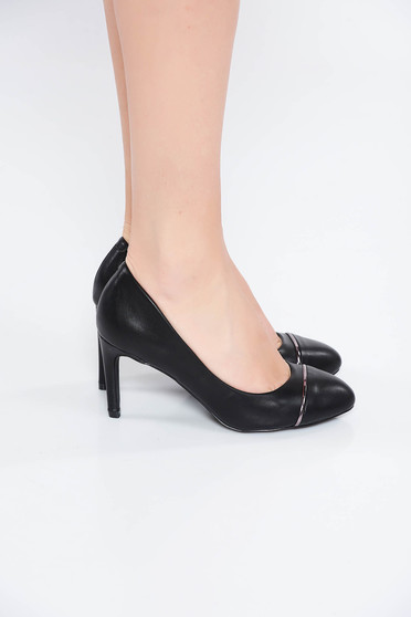 Black elegant shoes from ecological leather with high heels