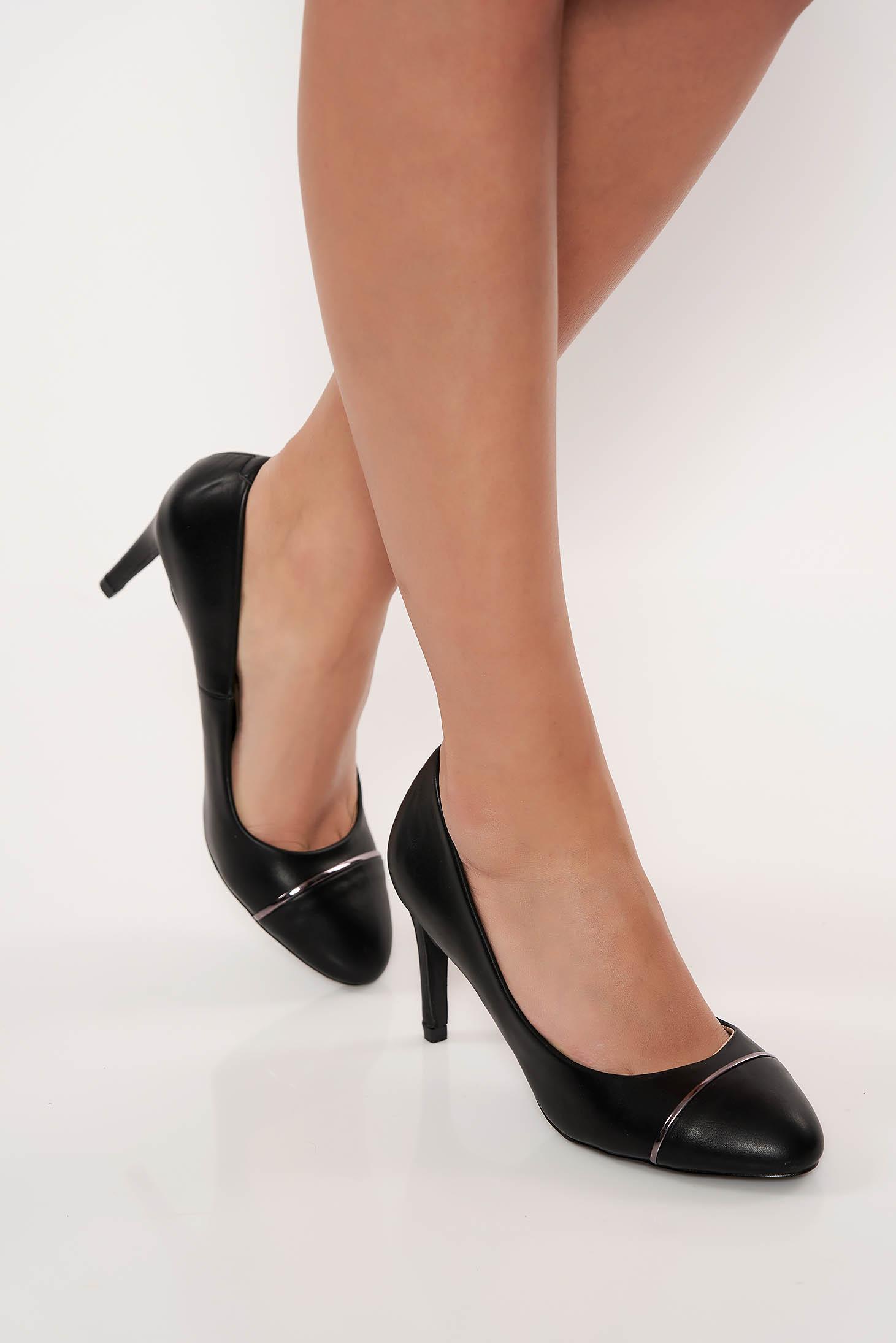 Pantofi negru elegant din piele ecologica cu toc inalt
