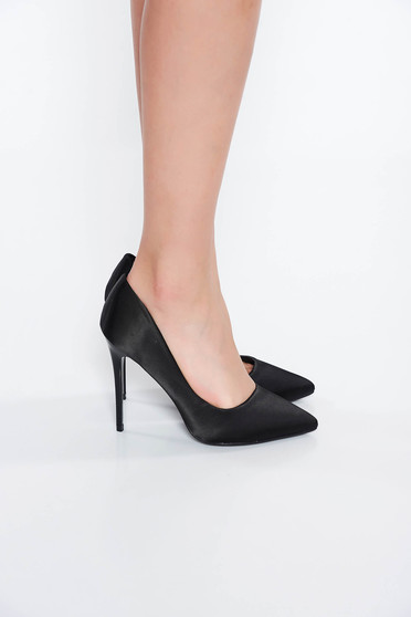 Black shoes elegant with high heels slightly pointed toe tip from satin fabric texture