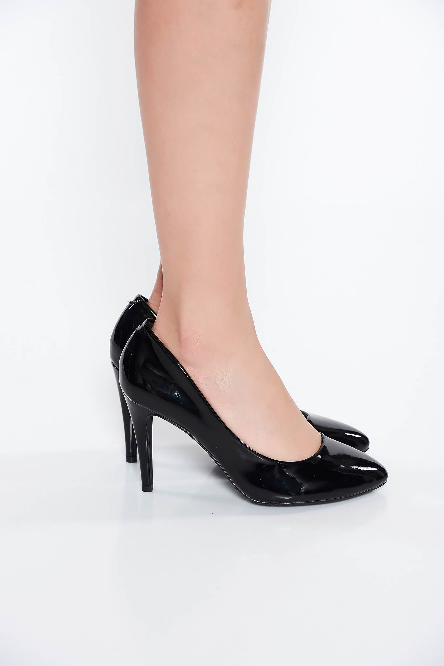 Black office shoes from ecological varnished leather slightly round toe tip