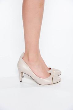 Grey elegant shoes from ecological leather with high heels