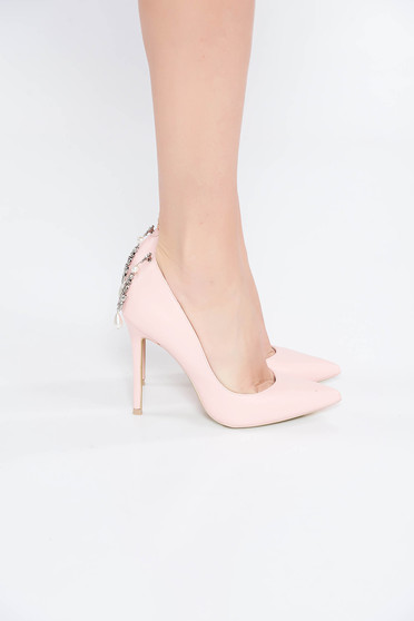 Lightpink shoes elegant slightly pointed toe tip with embellished accessories