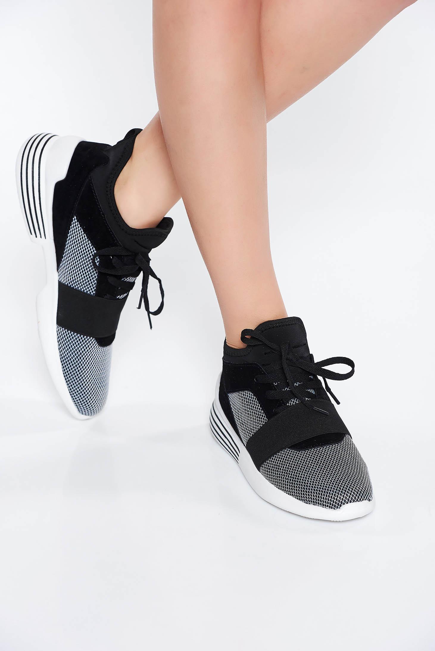 Pantofi sport negru casual cu talpa joasa cu siret