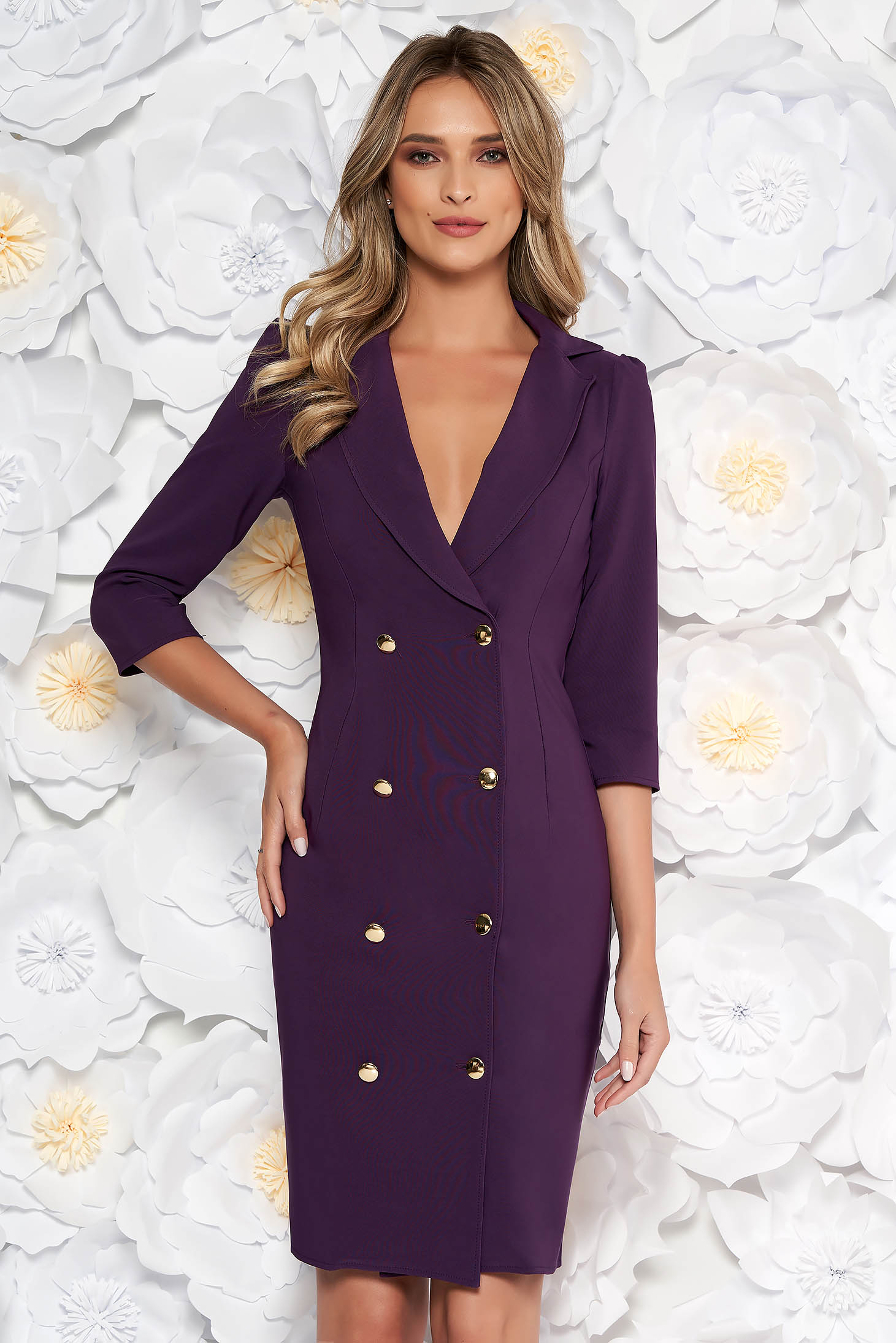 Artista purple elegant blazer type dress slightly elastic fabric wrap around with button accessories