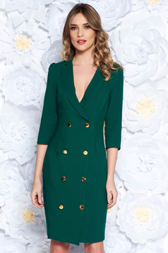 Artista green elegant blazer type dress slightly elastic fabric wrap around with button accessories