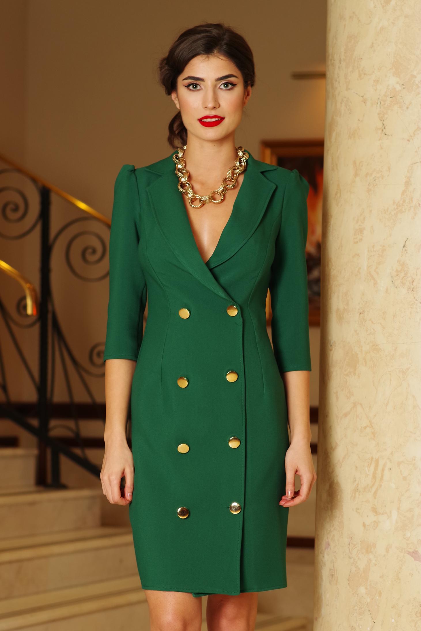 Rochie Artista verde eleganta petrecuta tip sacou din stofa usor elastica accesorizata cu nasturi