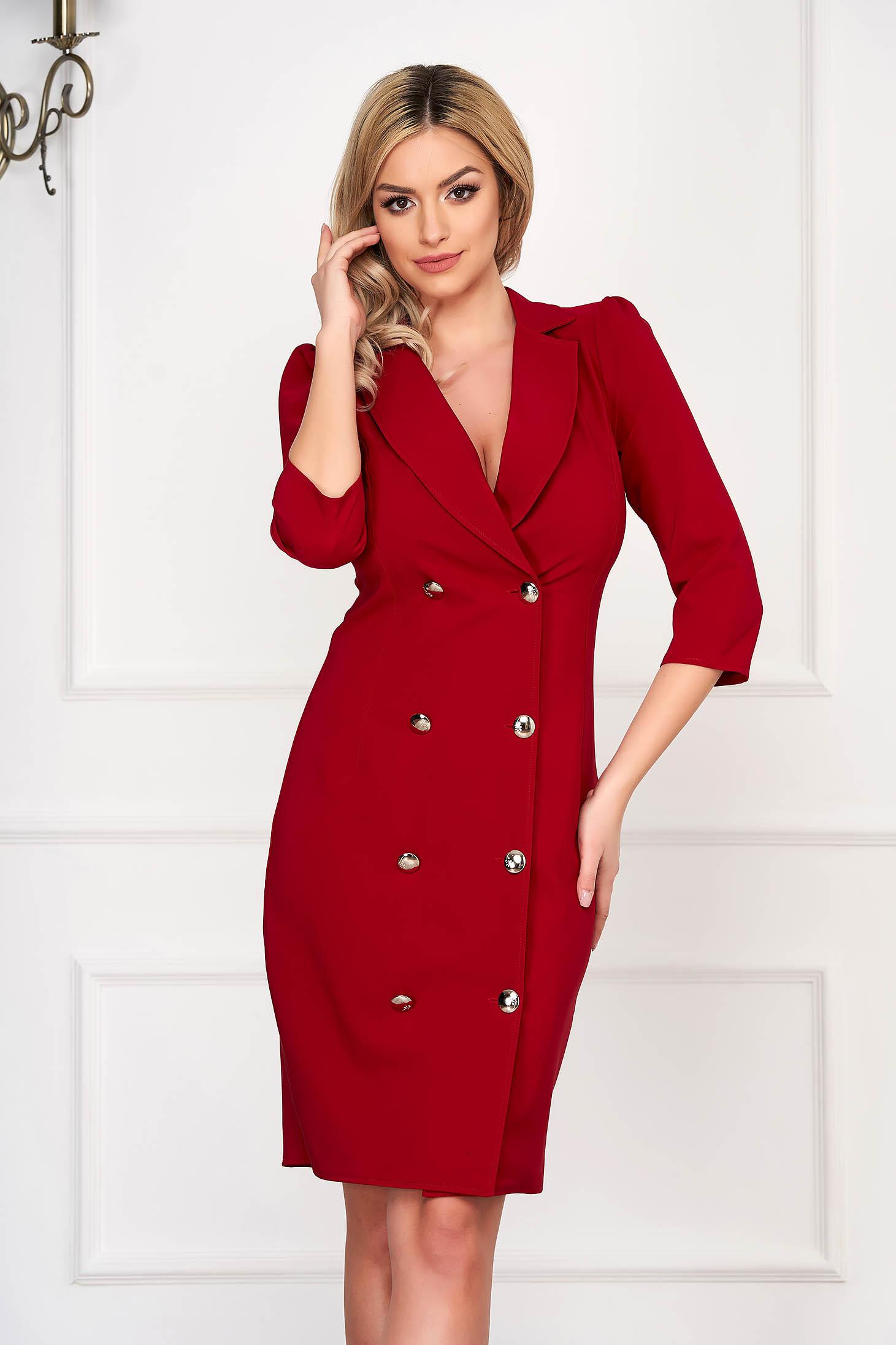 Rochie rosie eleganta petrecuta tip sacou din stofa usor elastica accesorizata cu nasturi