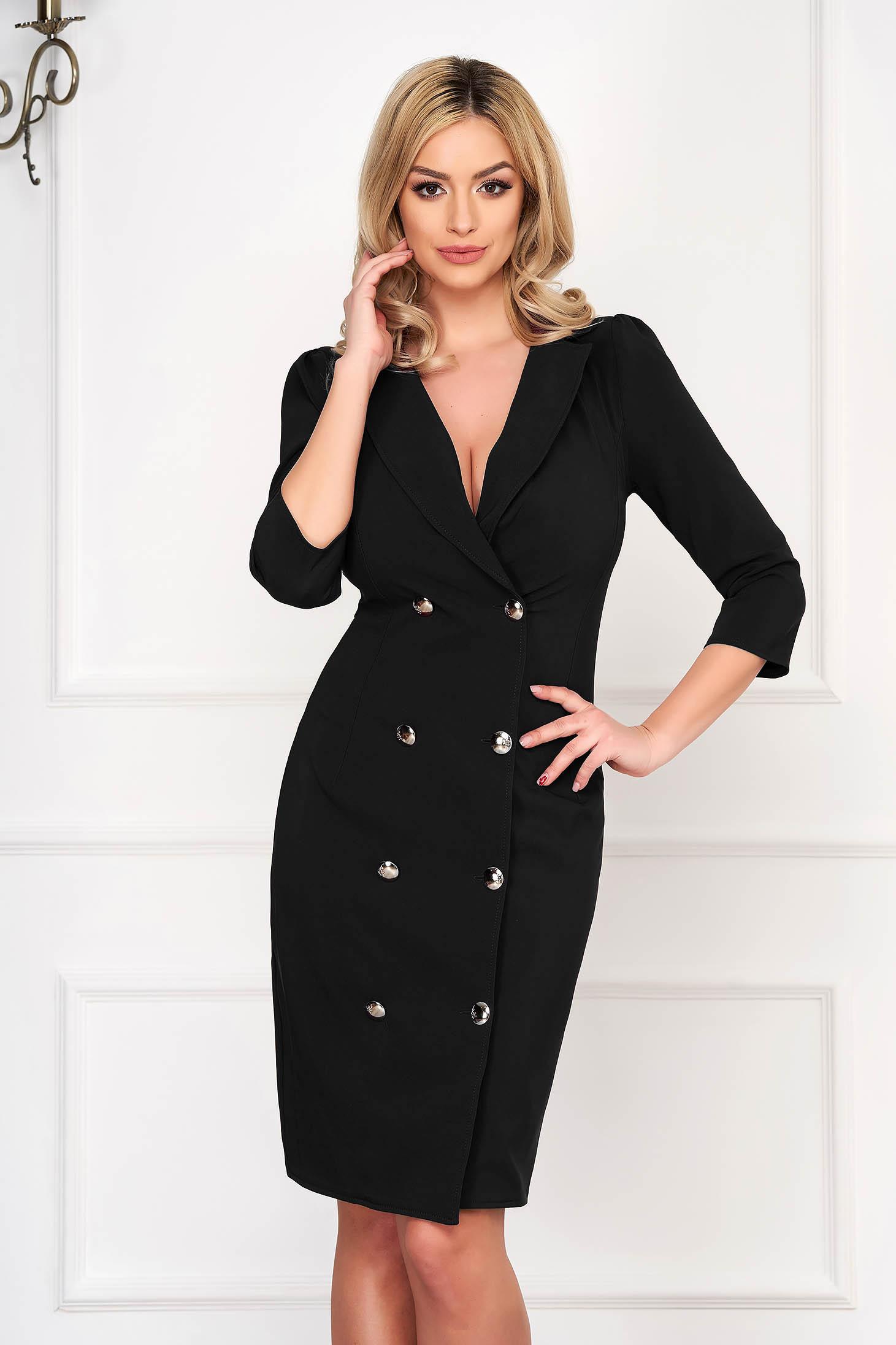 Artista black elegant blazer type dress slightly elastic fabric wrap around with button accessories