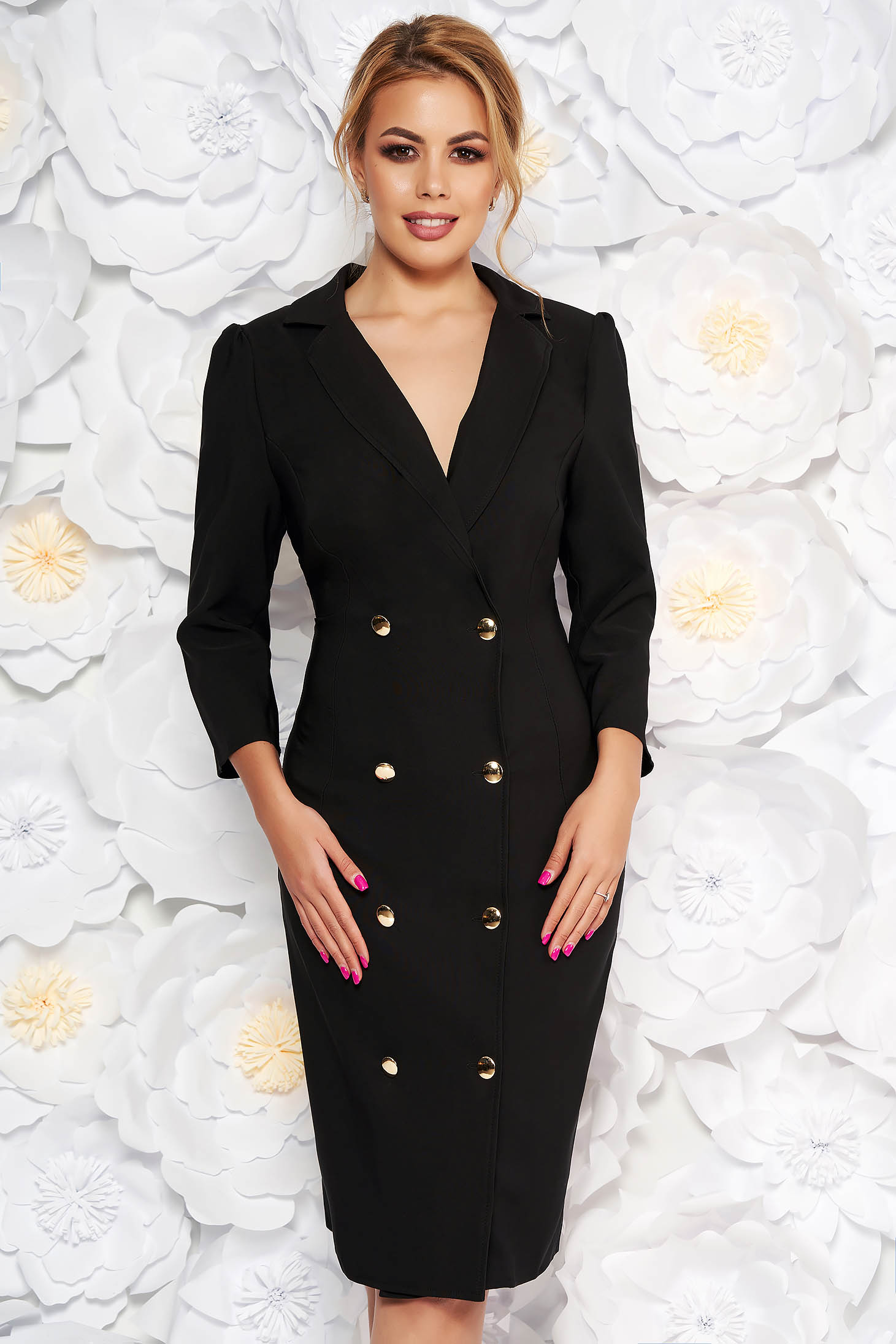 Rochie Artista neagra eleganta petrecuta tip sacou din stofa usor elastica accesorizata cu nasturi