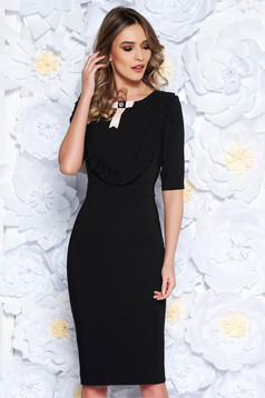 LaDonna black dress elegant pencil slightly elastic fabric with inside lining accessorized with breastpin