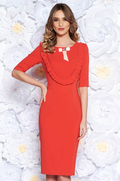 LaDonna coral dress elegant pencil slightly elastic fabric with inside lining accessorized with breastpin