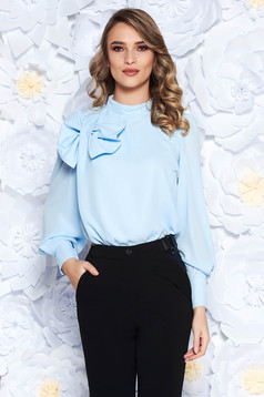 LaDonna lightblue women`s blouse elegant flared airy fabric with inside lining bow accessory