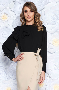LaDonna black women`s blouse elegant flared airy fabric with inside lining bow accessory