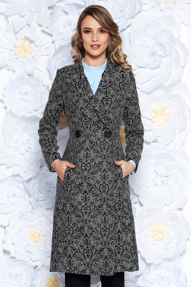 LaDonna grey trenchcoat elegant with inside lining slightly elastic fabric raised pattern cut with a bodycon fit