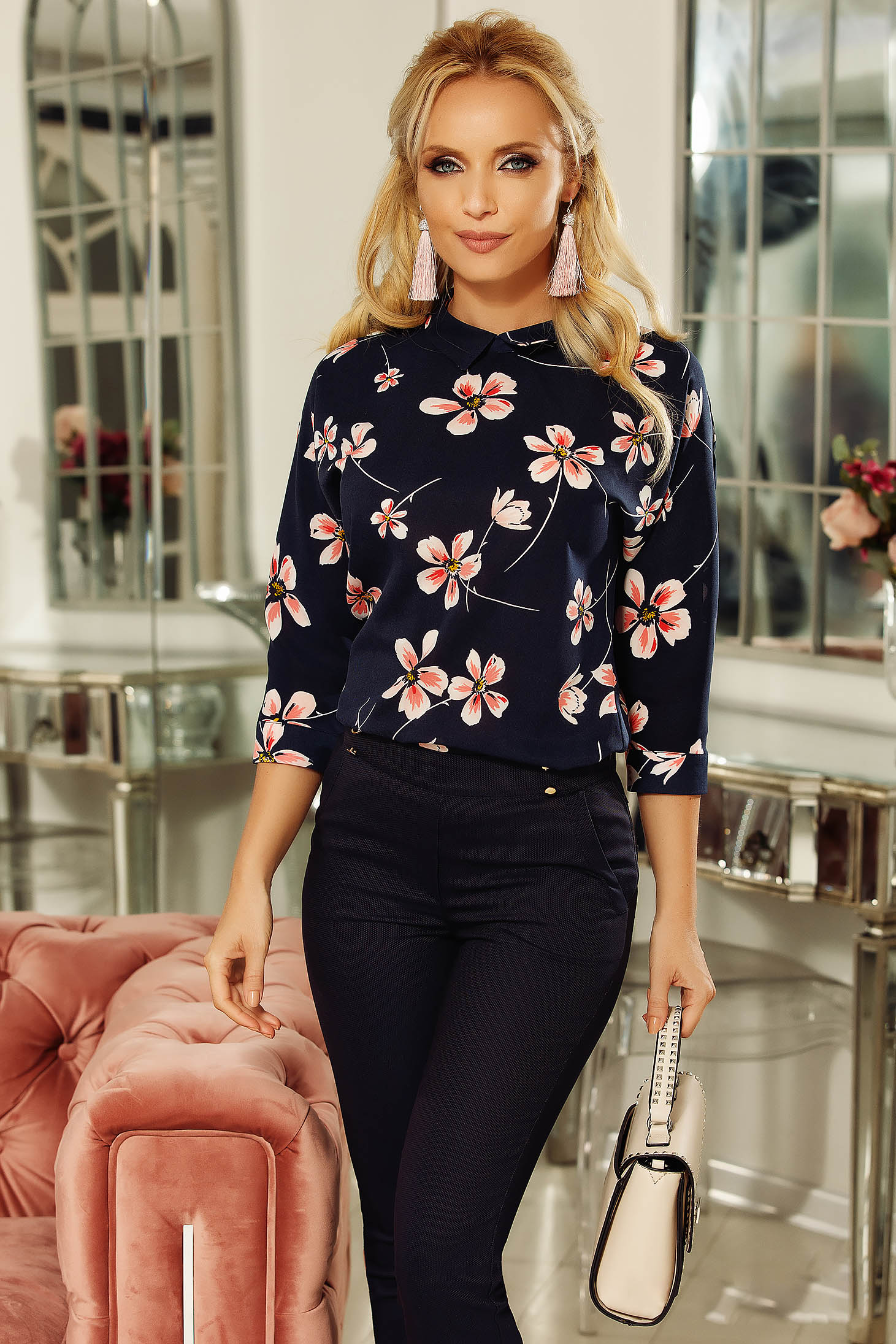 Fofy darkblue women`s blouse elegant airy fabric flared with floral print