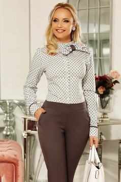 Fofy grey women`s shirt office slightly elastic cotton with tented cut bow accessory