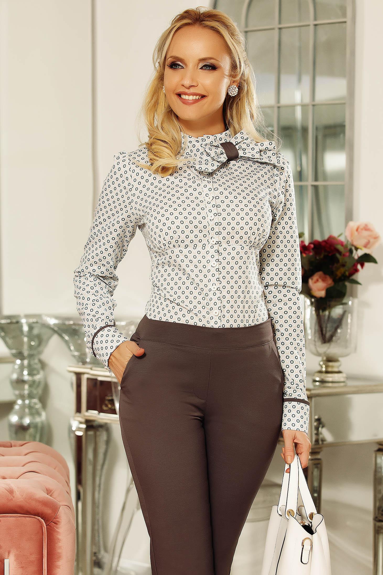 Szürke Fofy női ing hosszú ujjakkal