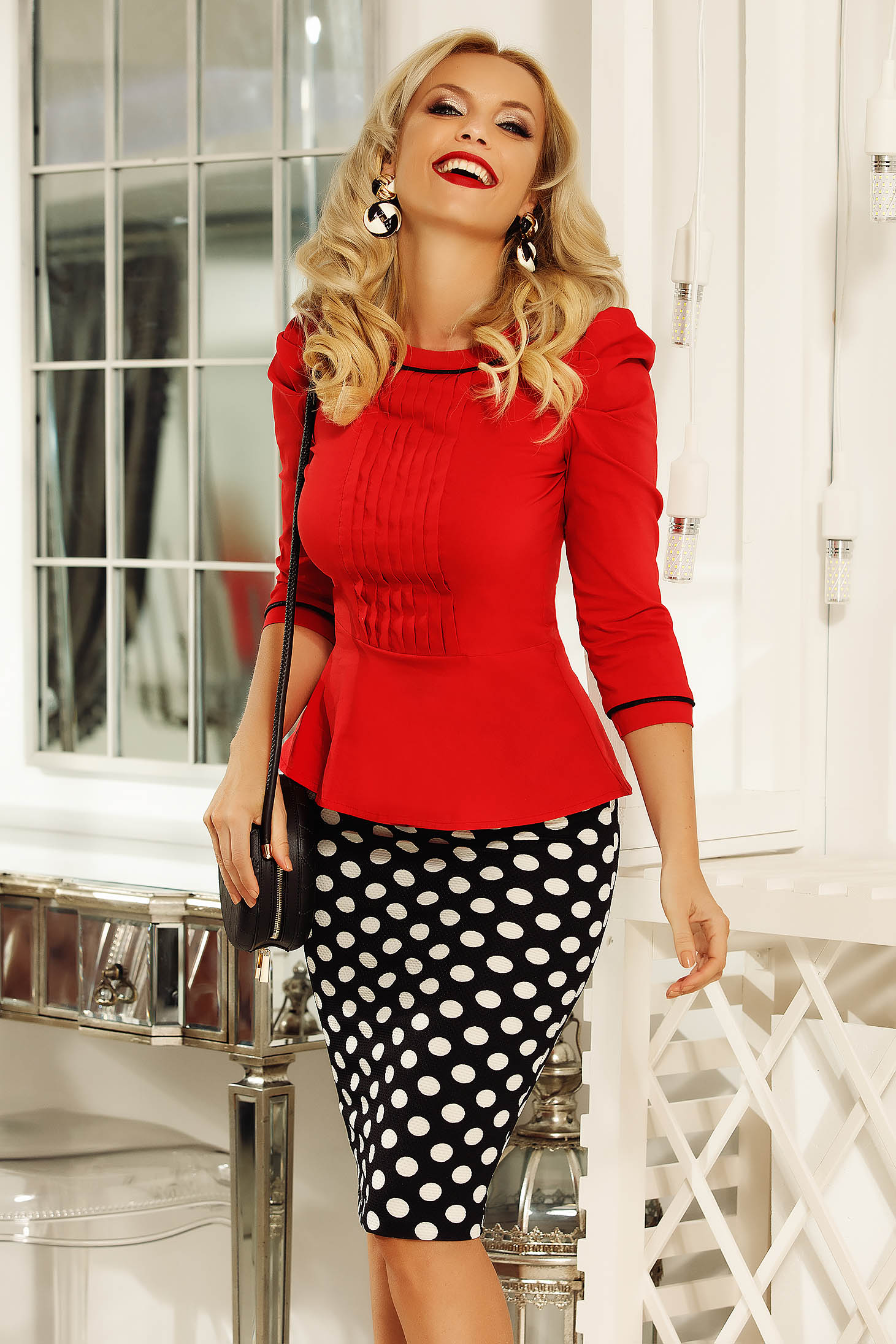 Fofy red women`s shirt office with tented cut slightly elastic cotton with button accessories