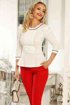 Fofy white women`s shirt office with tented cut slightly elastic cotton with button accessories