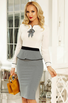 Fofy white women`s shirt office with tented cut slightly elastic cotton accessorized with breastpin