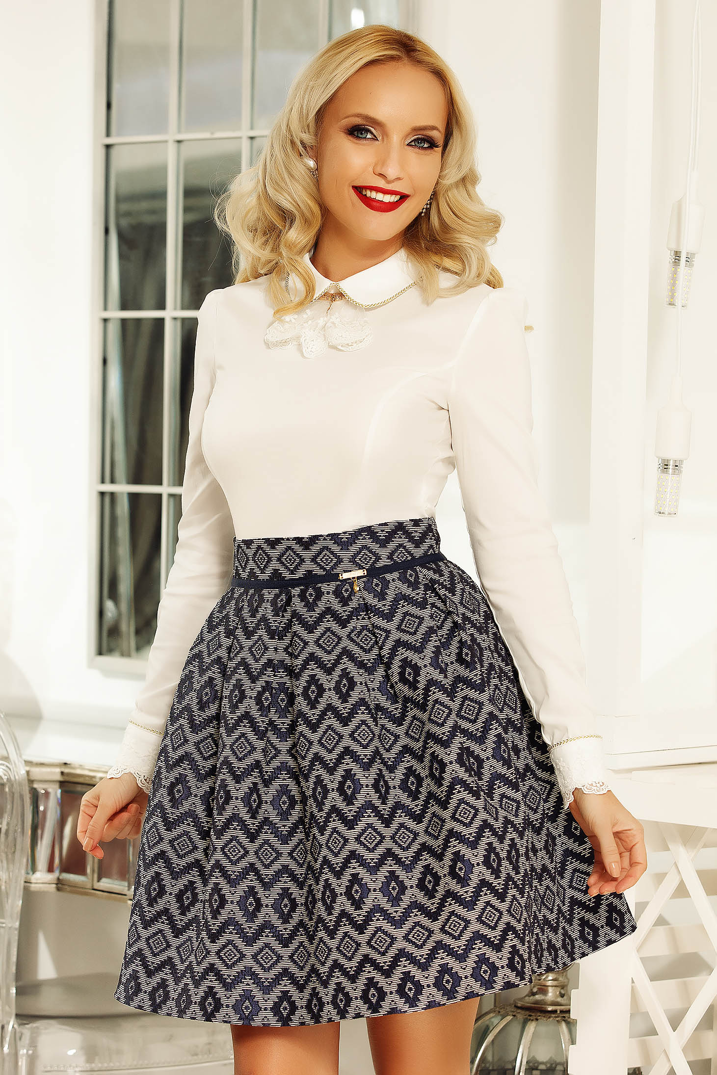Fofy darkblue skirt high waisted cloche office from jacquard with geometrical print