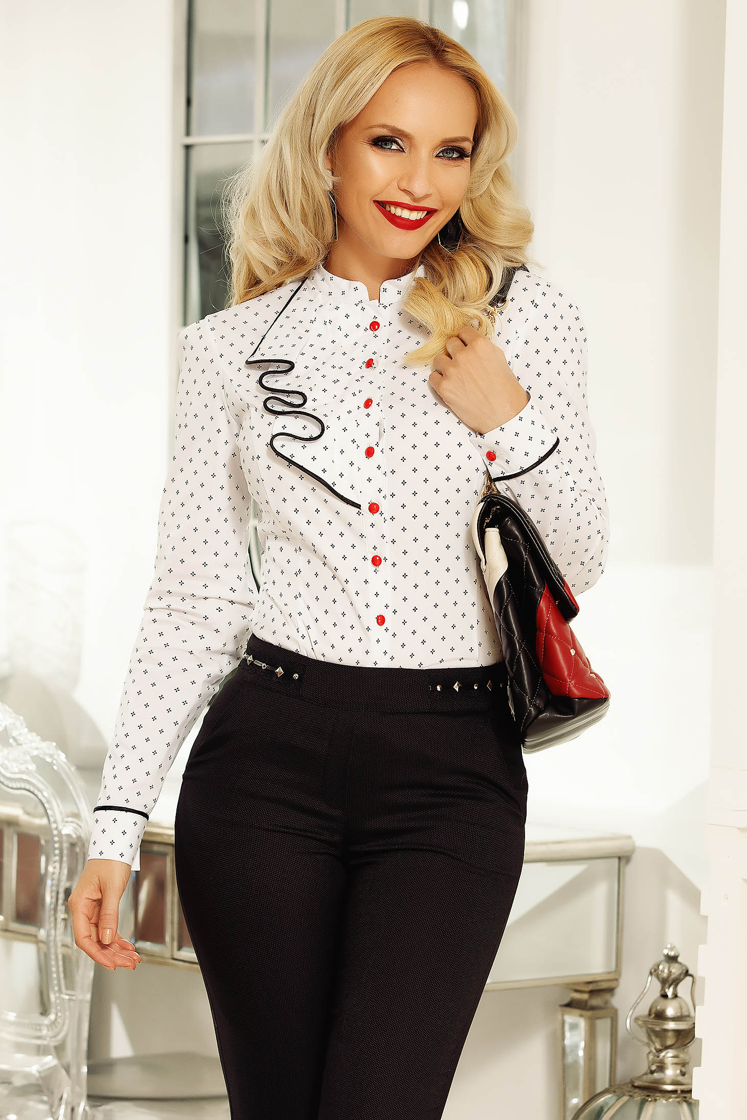 Fofy white women`s shirt office slightly elastic cotton with tented cut with ruffle details