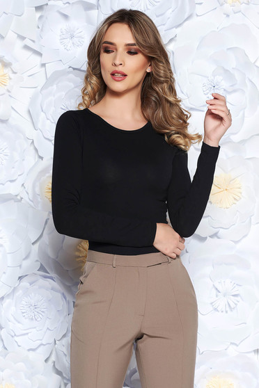 SunShine black body elastic cotton casual with tented cut long sleeved