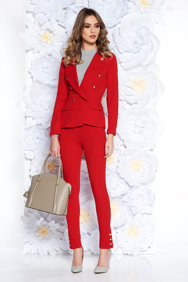 SunShine red lady set office from elastic and fine fabric with inside lining