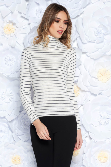 SunShine white women`s blouse with turtle neck slightly elastic fabric with tented cut casual