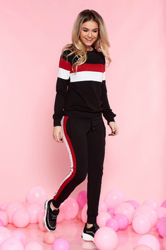 SunShine black set casual with trousers slightly elastic cotton with pockets