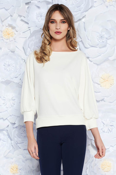 StarShinerS white women`s blouse with easy cut office from elastic fabric 3/4 sleeve
