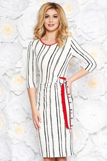 StarShinerS white daily midi pencil dress from elastic fabric with 3/4 sleeves