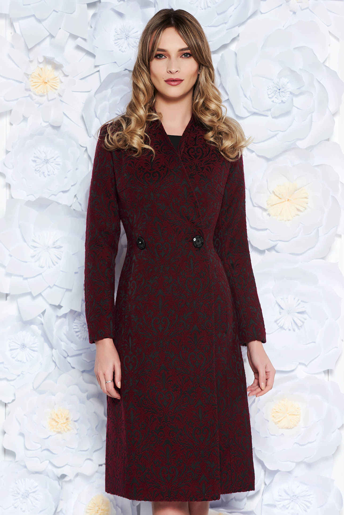 LaDonna burgundy trenchcoat elegant with inside lining slightly elastic fabric raised pattern cut with a bodycon fit