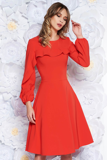 LaDonna coral elegant cloche dress slightly elastic fabric with inside lining with ruffles on the chest