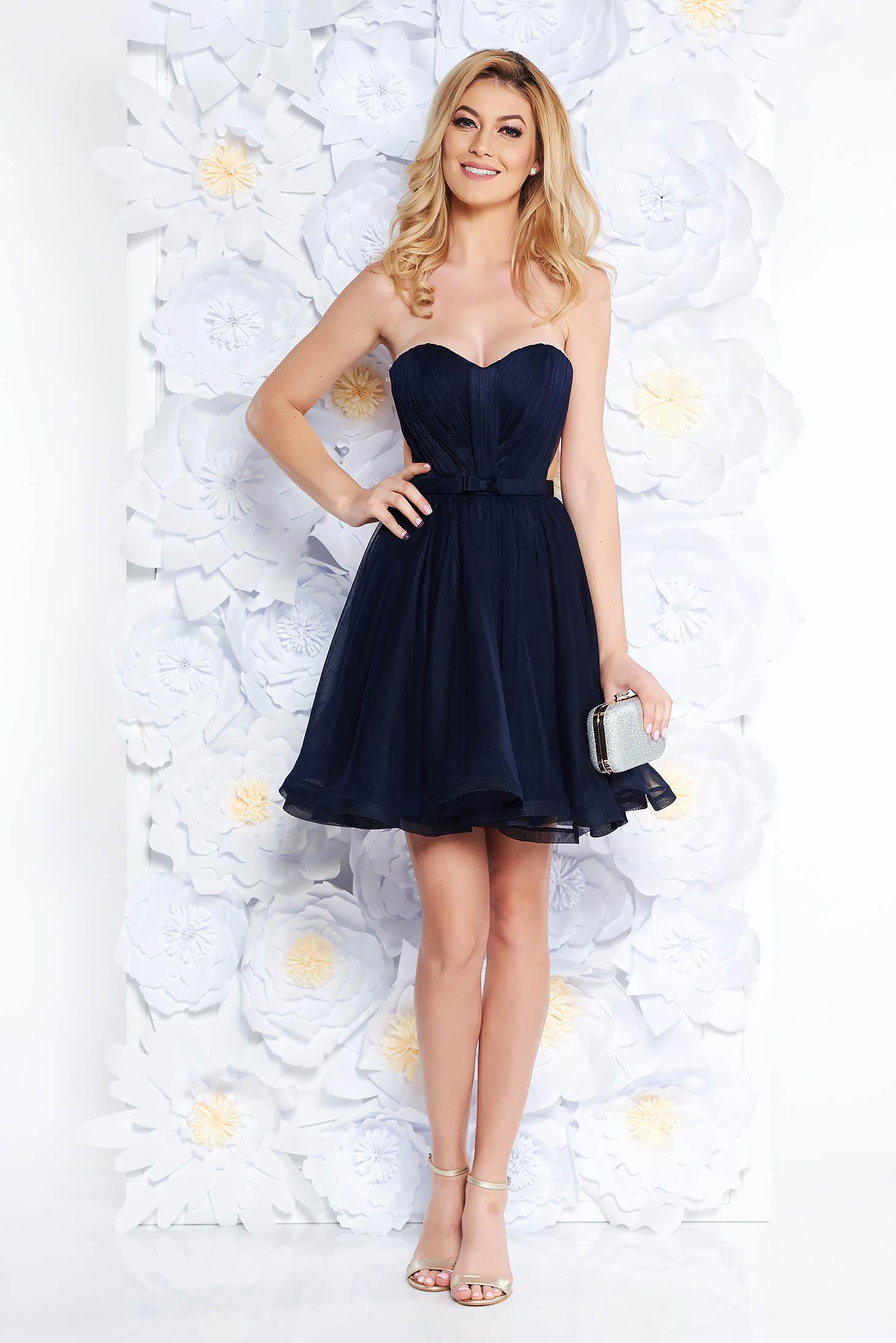 Rochie Ana Radu albastru-inchis de lux tip corset din tul captusita pe interior cu bust buretat accesorizata cu cordon