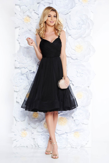 Ana Radu luxurious cloche from tulle with inside lining with push-up cups black dress