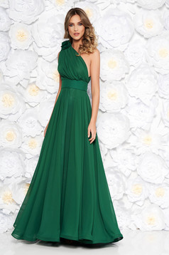 Ana Radu green voile fabric one shoulder dress luxurious accessorized with tied waistband