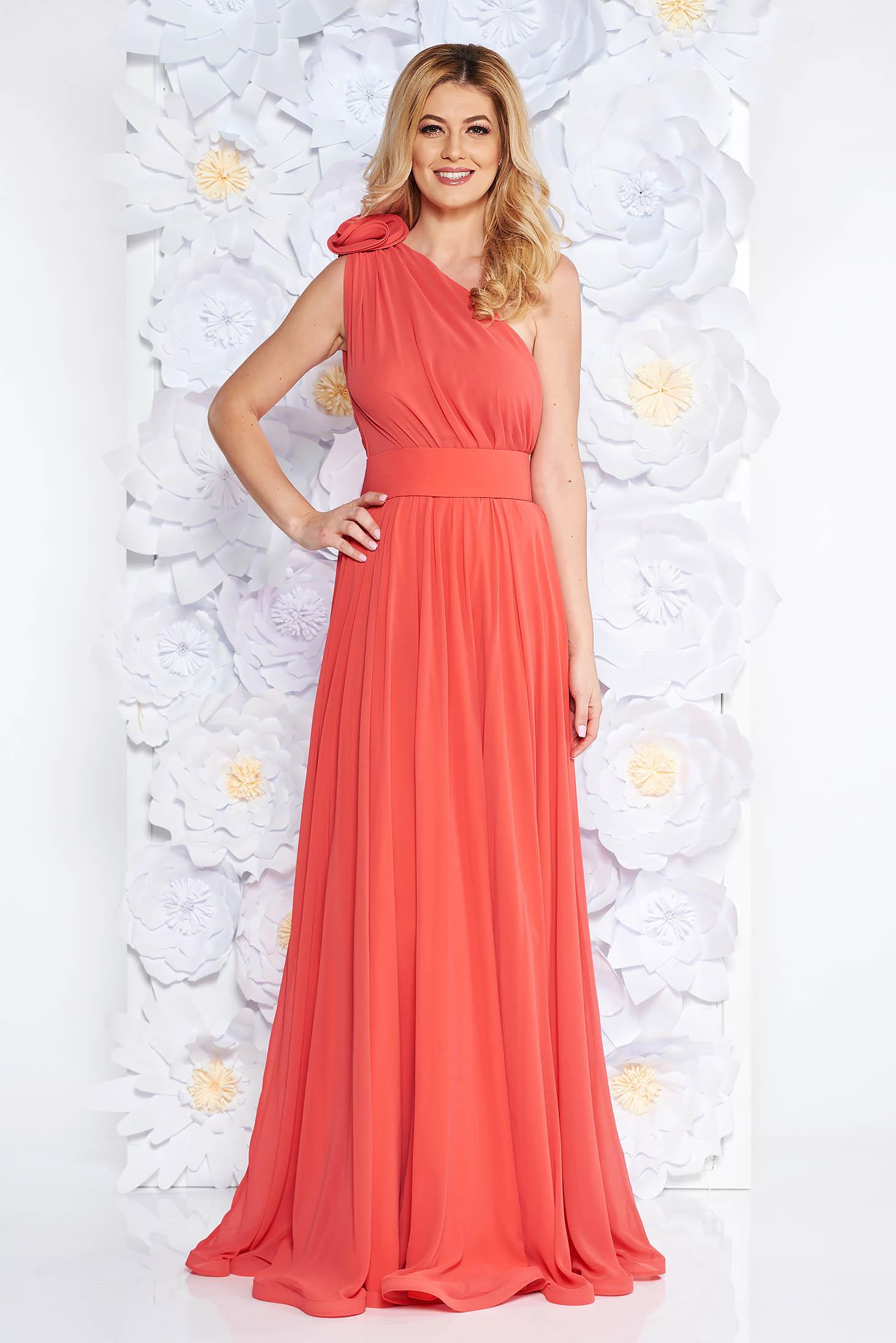 Ana Radu orange voile fabric one shoulder dress luxurious accessorized with tied waistband