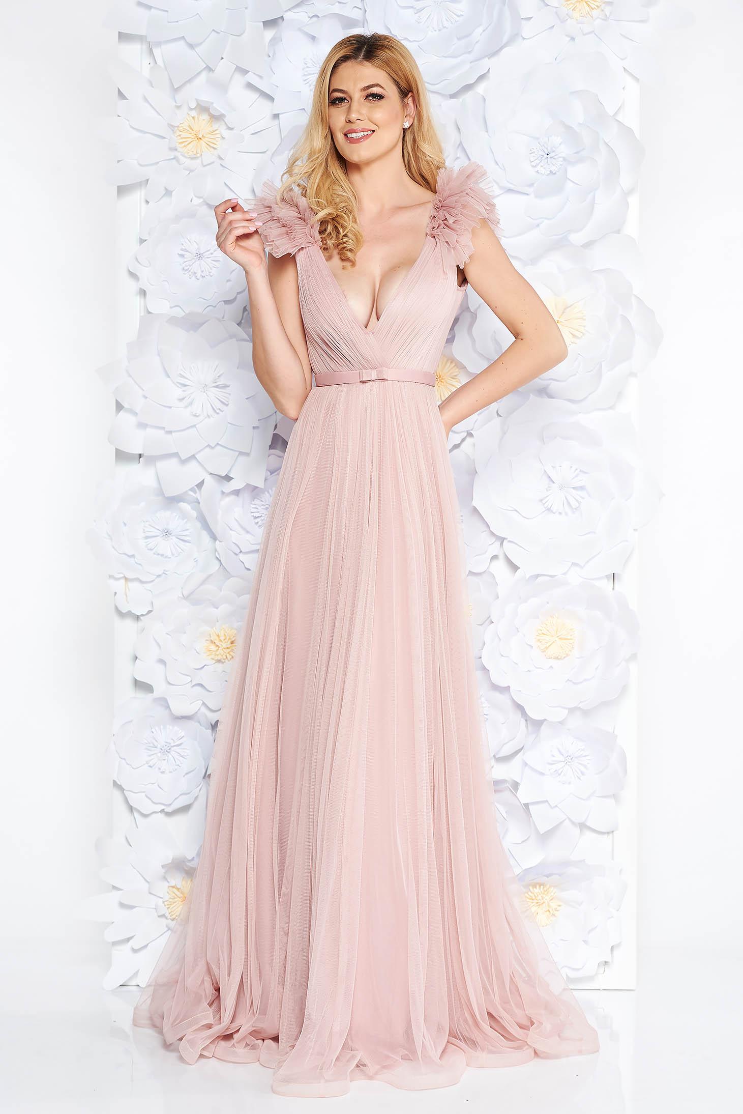 3e306cc516 Rózsaszínű Ana Radu tüll ruha belső béléssel mély dekoltázs szivacsos  mellrész