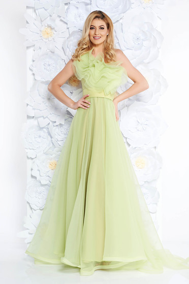Ana Radu lightgreen dress luxurious from tulle with inside lining with ruffles on the chest one shoulder