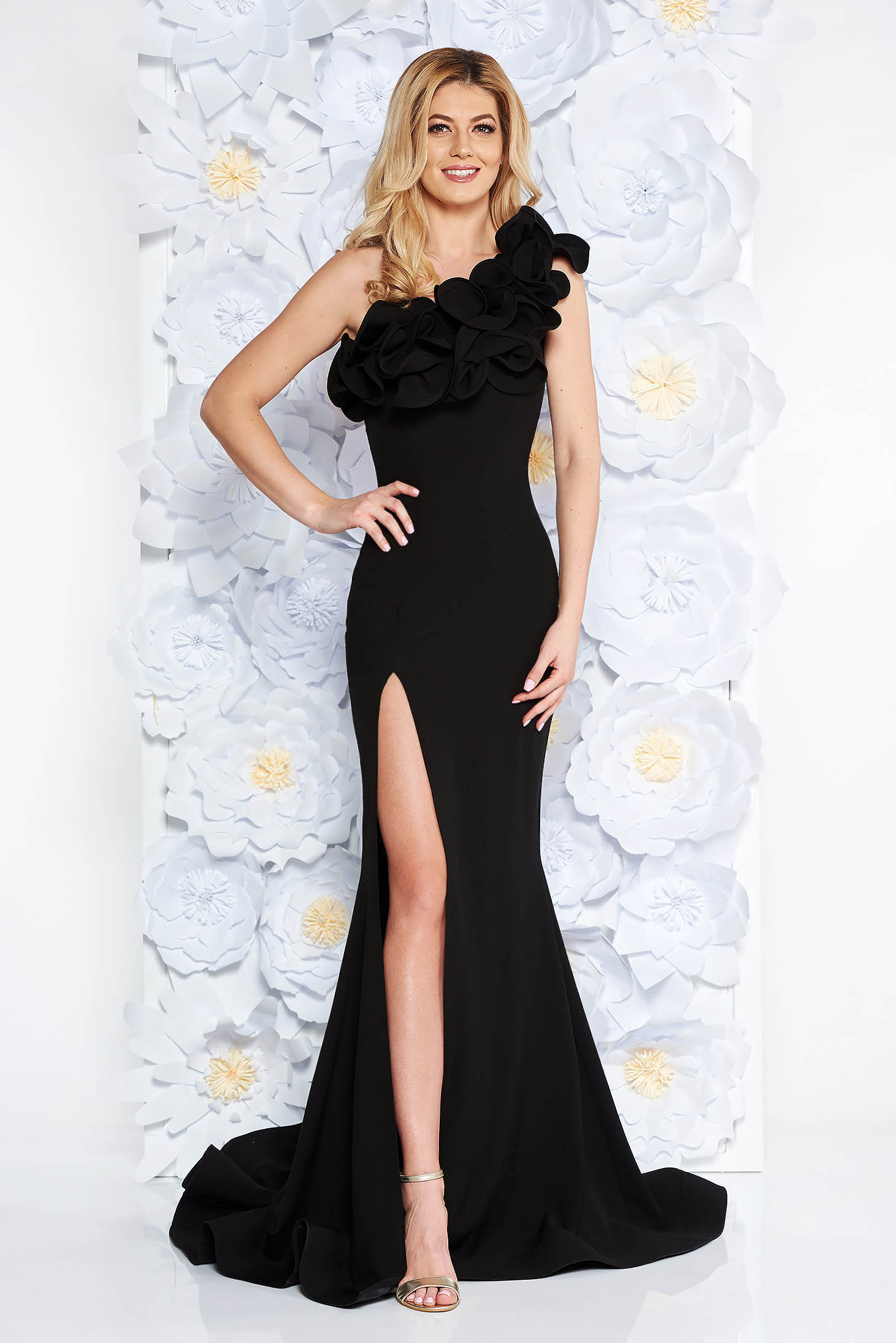 Ana Radu black occasional long mermaid dress with ruffle details with tented cut from elastic and fine fabric
