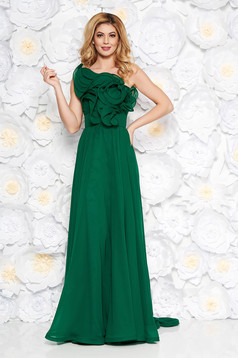 Ana Radu green luxurious dress from veil fabric with inside lining with ruffle details accessorized with tied waistband one shoulder