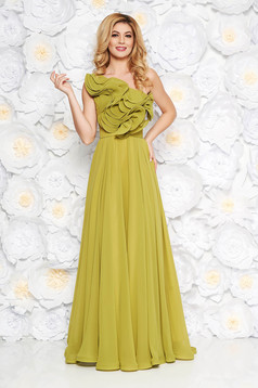 Ana Radu lightgreen luxurious dress from veil fabric with inside lining with ruffle details accessorized with tied waistband one shoulder