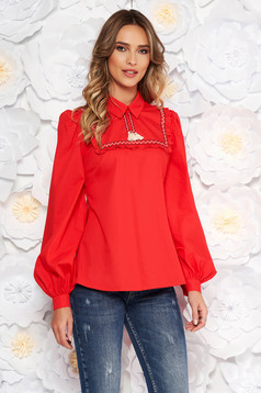 LaDonna red women`s blouse casual flared nonelastic cotton with tassels
