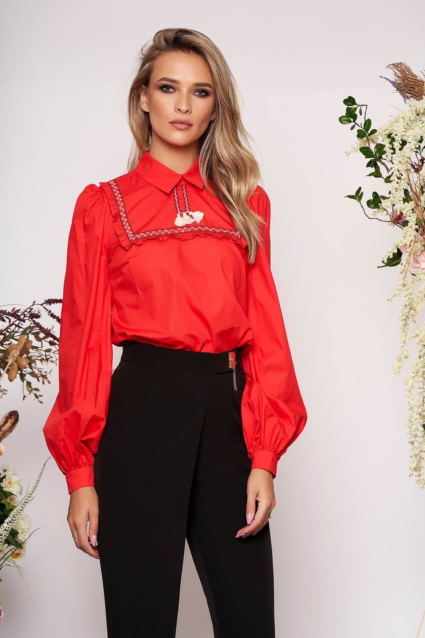 Piros casual bojtos bő szabású női blúz rugalmatlan pamutból