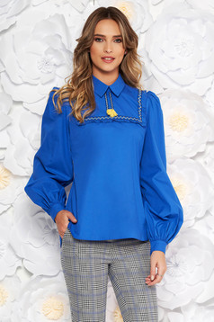 LaDonna blue women`s blouse casual flared nonelastic cotton with tassels